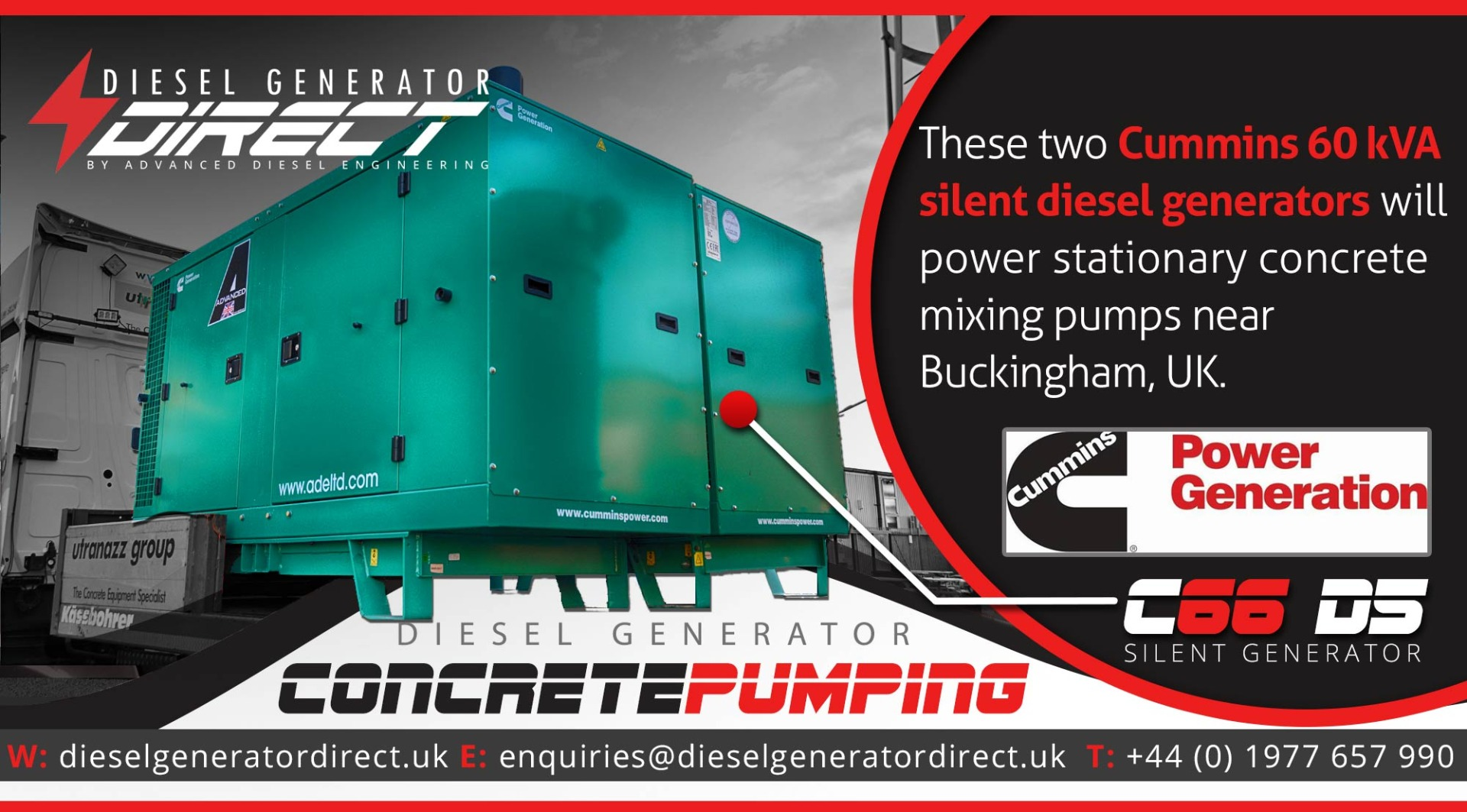 cummins 60kVA silent generator for concrete pumping at building site