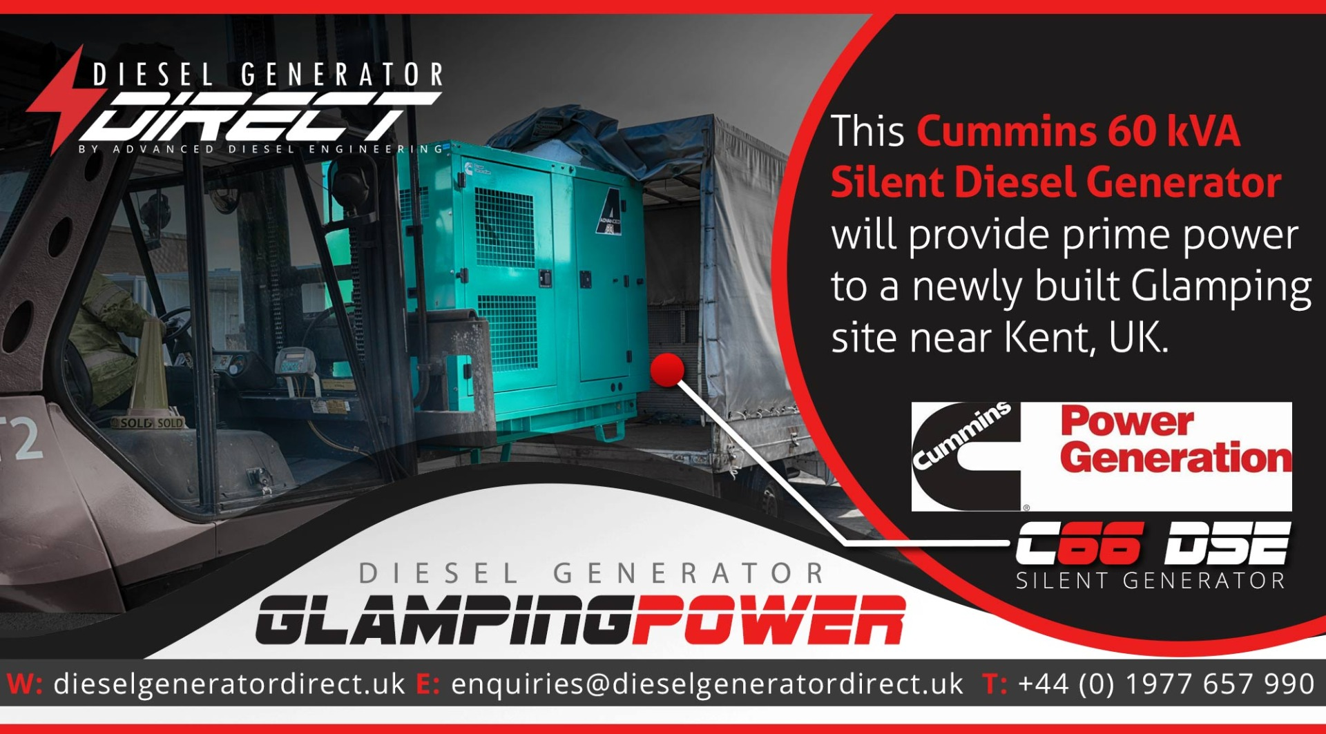 cummins 60kVA silent generator for glamping site