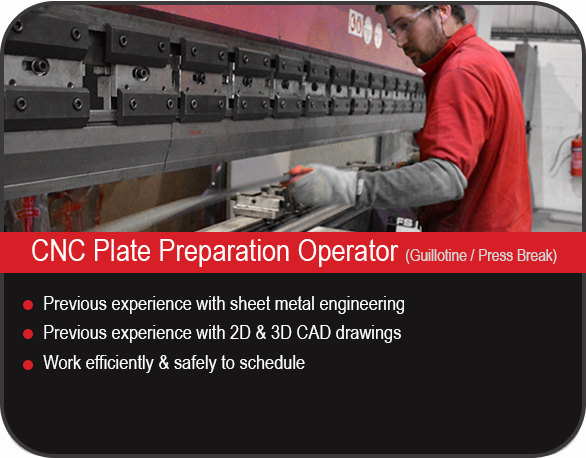 CNC plate operator job vacancy in Yorkshire, UK